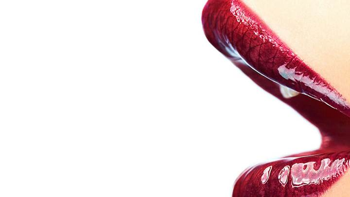 Red Glossy Lips Closeup